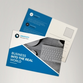 Business Postcard With Blue Elements