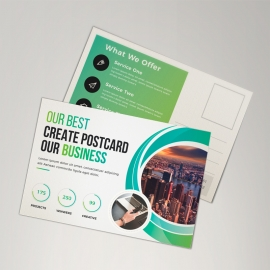 Business Postcard With Green Concepts