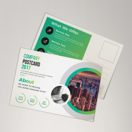 Business Postcard With Green Elements