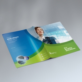 Business Presentation Folder With Blue Green