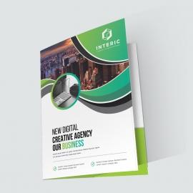 Business Presentation Folder With Green Elements