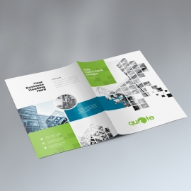 Business Presentation Folder With Green Rectangle Boxs
