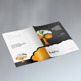 Business Presentation Folder With Orange Tree Elements
