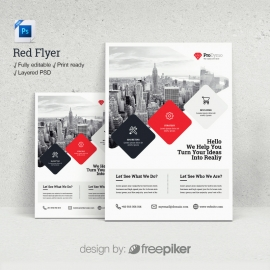 Business Red Psd Flyer