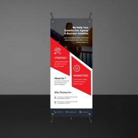 Business Red Rollup Banner