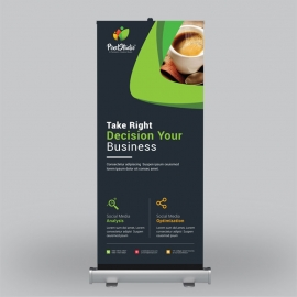 Business Roll-Up Banner With Black Green Elements