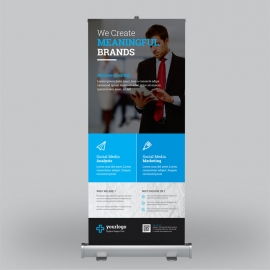 Business Roll-Up Banner With Blue Elements