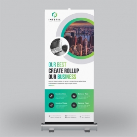 Business Roll-Up Banner With Green Elements