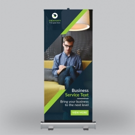 Business Roll-Up Banner With Green Orange Concept