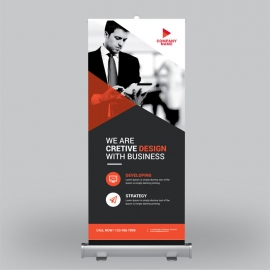 Business Roll-Up Banner With Red Elements