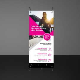 Business Rollup Banner With Abstract Shapes