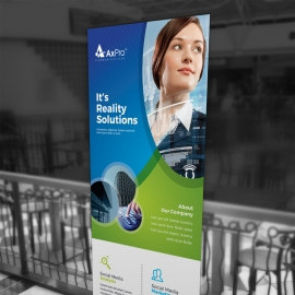 Business Rollup Banner With Blue green Accent