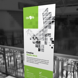 Business Rollup Banner With Green Rectangle Boxs