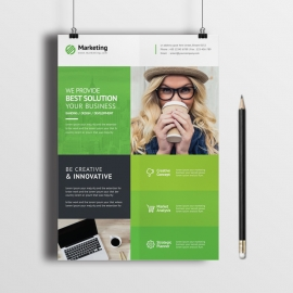 Business Solution Flyer With Green Boxes