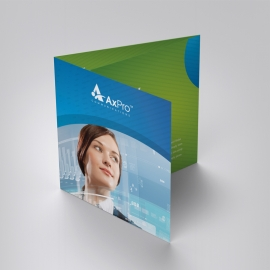 Business Square TriFold Brochure With Blue Green