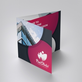 Business Square TriFold Brochure With Red & Black Accent