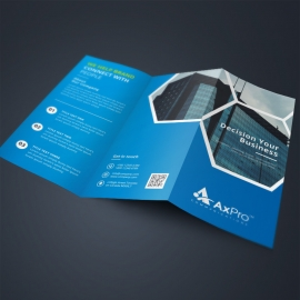 Business TriFold Brochure With Blue Elements