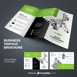 Business TriFold Brochure With Green Rectangle Boxs