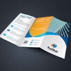 Business TriFold Brochure With Orange Blue