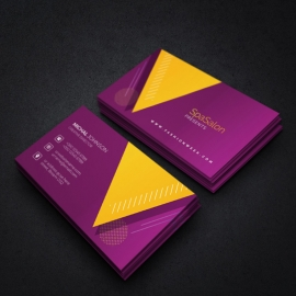 BusinessCard With Yellow And Purple Accent