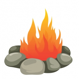 Camp Fire On White Background