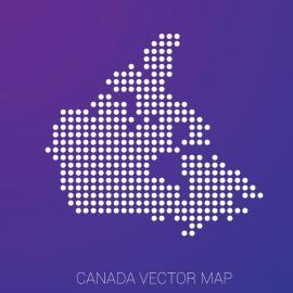 Canada Map Gradient Backgound Vector Design