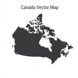 Canada Map Single Color Vector Design