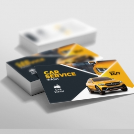 Car Wash Service Business Card With Yellow Accent