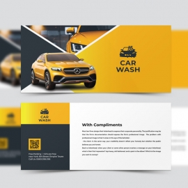 Car Wash Service Compliment Card With Yellow Accent