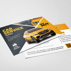 Car Wash Service PostCard With Yellow Accent