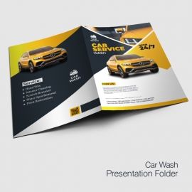 Car Wash Service Presentation Folder With Yellow Accent