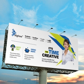 Ceative Billboard Sinage With Blue And Green Accent