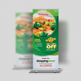 Celebrating Rollup Banner PSD Design