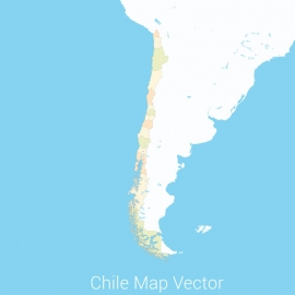 Chile Map Colorfull Vector Design