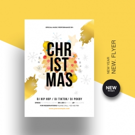 Christmas Flyer Template With Golden Accent