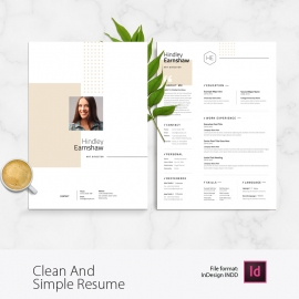 Clean And Simple Resume Layout With Golden Accent