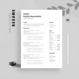 Clean Resume Template 3 Pages