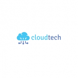 CloudTech Logo with Blue Cloud and Technology Link