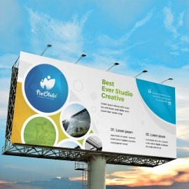 Colorful Billboard Banner With Cricle