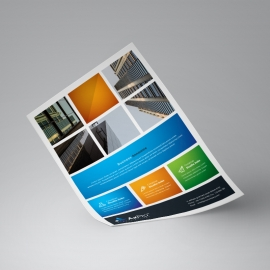 Colorful Boxs Flyer With Orange Blue Accent