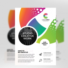 Colorful Business Flyer With Cricle