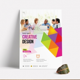 Colorful Business Flyer With Triangle