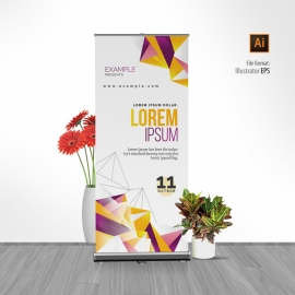 Colorful Rollup Banner With Abstract