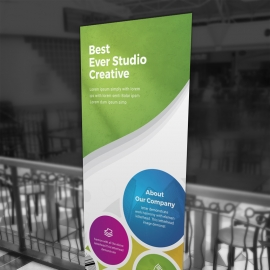 Colorful Rollup Banner With Cricle