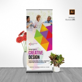 Colorful Rollup Banner With Triangle