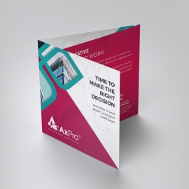 Colorful Square TriFold Brochure With Red Accent