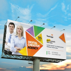 Colorful Triangle Billboard Sinage With Abstract