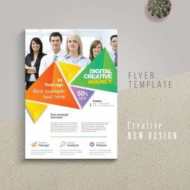 Colorful Triangle Business Flyer With Abstract