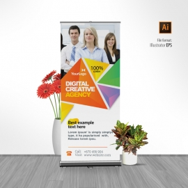 Colorful Triangle Rollup Banner With Abstract