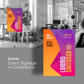Colourful Abstract Event Signage For Conference